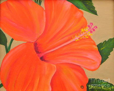 Art Print featuring the painting Coral Delight - Hibiscus Flower by Shelia Kempf