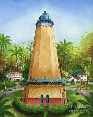 Water Tower Place Painting - Coral Gables Water Tower by Colette Raker