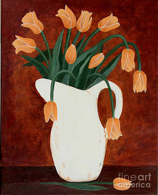 Coral Tulips In A Milk Pitcher Art Print by Barbara Griffin