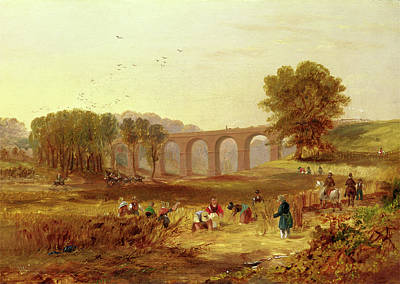 Poke Painting - Corby Viaduct, The Newcastle And Carlisle Railway Signed by Litz Collection
