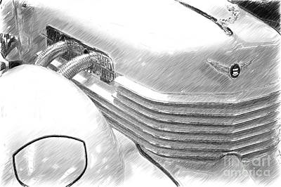 Cord 812 Oldtimer From 1937 Sketch Art Print by Heiko Koehrer-Wagner