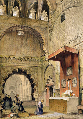 Cordoba Monk Praying At A Christian Art Print by John Frederick Lewis