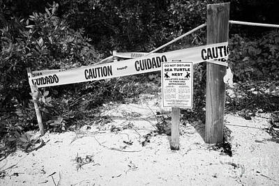 Cordoned Off Sea Turtle Nest With Warning Sign Dry Tortugas Florida Keys Usa Art Print