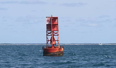 Sound Photograph - Core Sound Buoy by Cathy Lindsey