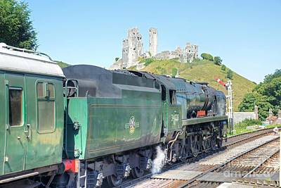 Photograph - Steam Locomotive 34028 At Corfe Castle  by David Birchall