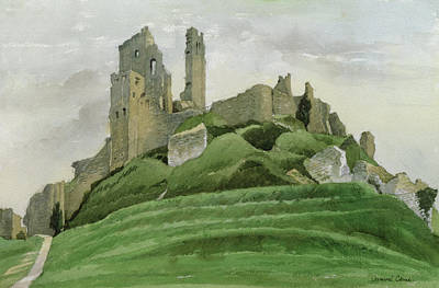 Medieval Drawing - Corfe Castle by Osmund Caine