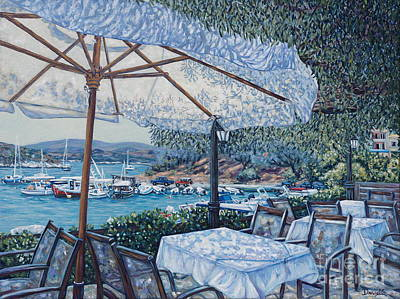 Agios Painting - Greek  Cafe by Danielle  Perry