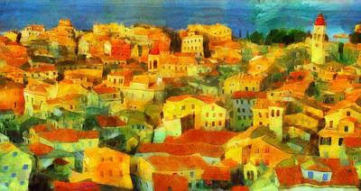 Floral Painting - Corfu Island by George Rossidis