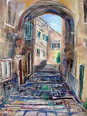 Corfu Painting - Corfu The Old Town . by Xanthie Zervou