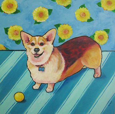 Painting - Corgi - Ellen With Sunflowers by Janet Burt