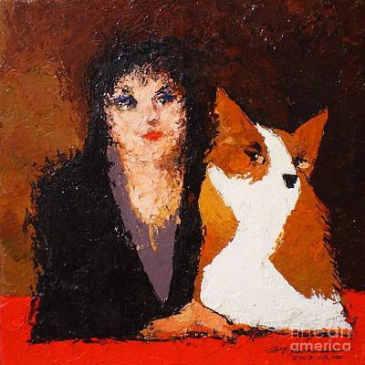 Painting - Corgi And Woman V.1 by Max Yamada