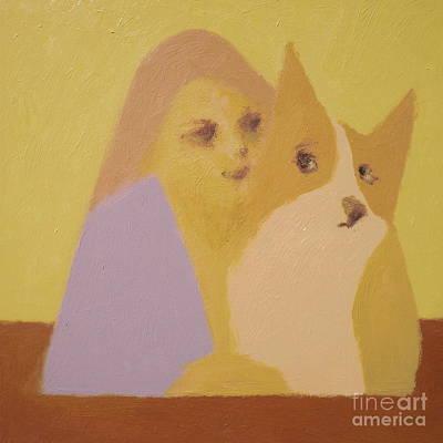 Painting - Corgi And Woman V.3 by Max Yamada