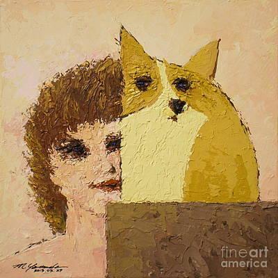 Painting - Corgi And Woman V.5 by Max Yamada