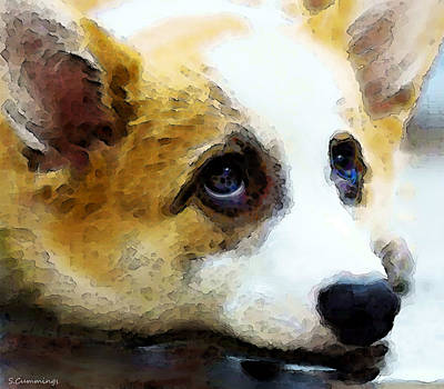 Corgi Painting - Corgi Art - That Look by Sharon Cummings