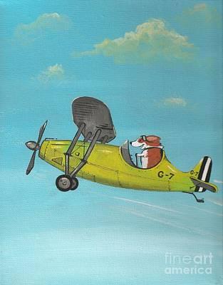 Corgi Aviator Art Print by Margaryta Yermolayeva