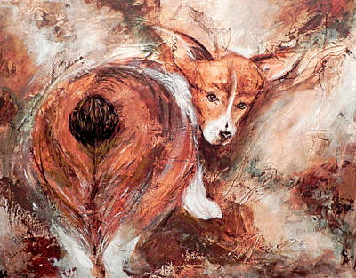 Art Print featuring the painting Corgi Butt by Patricia Lintner