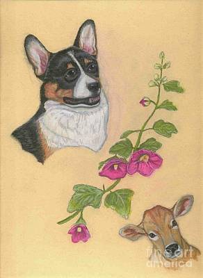 Pastel - Corgi Cow Hollyhock by Ann Becker