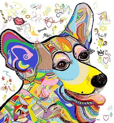 Cute Puppy Painting - Corgi Cutie by Eloise Schneider