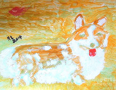 Painting - The Queen's Corgi Dog Gold 1 by Richard W Linford