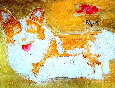 Painting - The Queen's Corgi Dog Gold 2 by Richard W Linford