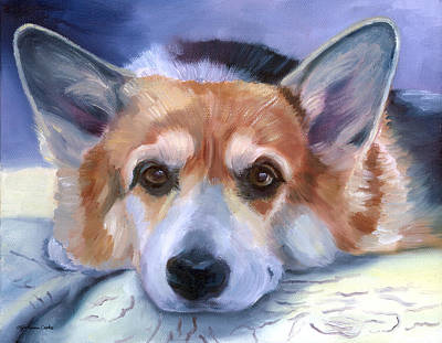 K9 Painting - Corgi Gazing by Lyn Cook