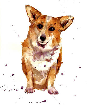 Dog Breeds Painting - Corgi Lady by Alison Fennell