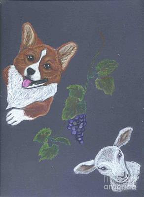 Pastel - Corgi Sheep Grapes by Ann Becker