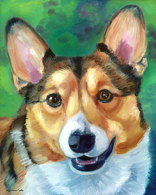 K9 Painting - Corgi Smile by Lyn Cook