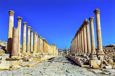 Jordan Photograph - Corinthian Columns Ancient Roman Road by William Perry