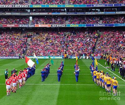 Cork And Clare Hurling Teams Art Print by Patrick Dinneen