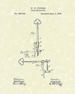 Wine Art Drawing - Cork Extractor 1878 Patent Art by Prior Art Design