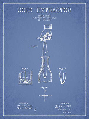 Wine-bottle Digital Art - Cork Extractor Patent Drawing From 1878 -light Blue by Aged Pixel