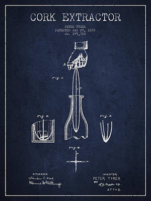 Wine-bottle Digital Art - Cork Extractor Patent Drawing From 1878 -navy Blue by Aged Pixel