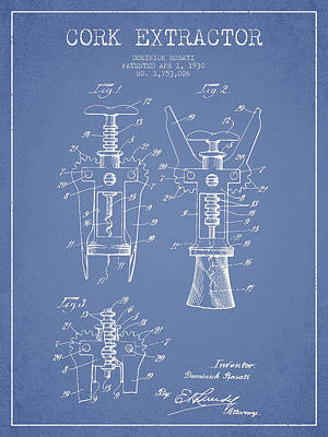 Wine Bottles Digital Art - Cork Extractor Patent Drawing From 1930 - Light Blue by Aged Pixel