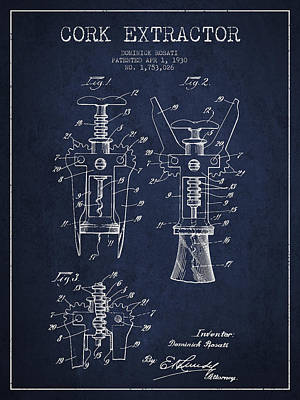 Wine Bottles Digital Art - Cork Extractor Patent Drawing From 1930 - Navy Blue by Aged Pixel