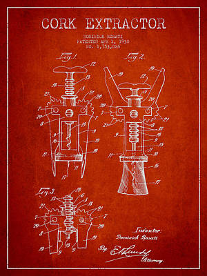 Wine Bottles Digital Art - Cork Extractor Patent Drawing From 1930 - Red by Aged Pixel