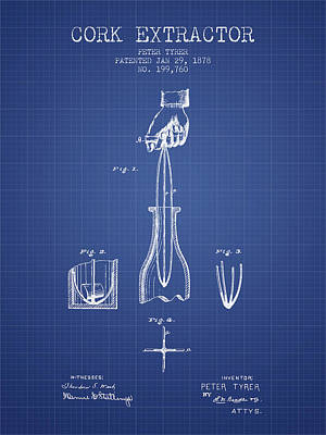 Wine Royalty-Free and Rights-Managed Images - Cork Extractor patent from 1878- Blueprint by Aged Pixel