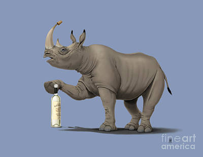 Rhinoceros Mixed Media - Cork It Durer Colour by Rob Snow