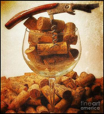 Winetasting Photograph - Corks And Elegant Corkscrew by Stefano Senise