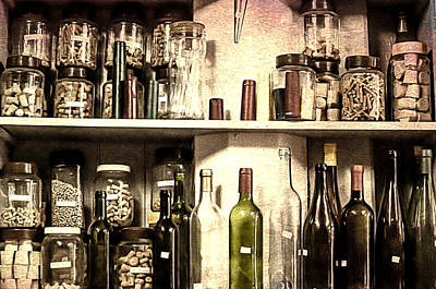 Winebottle Photograph - Corks Stored In Flasks In A Cork Shop by Georgina Noronha