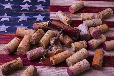 Uncork Photograph - Corkscrew On American Flag by Garry Gay
