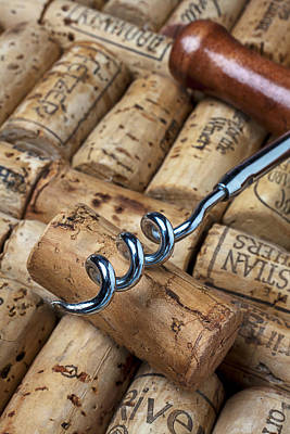Corkscrew On Corks Print by Garry Gay