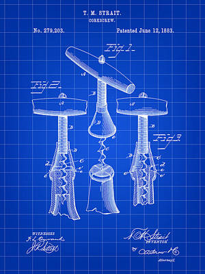 Table Wine Digital Art - Corkscrew Patent 1883 - Blue by Stephen Younts