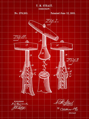 Cabernet Digital Art - Corkscrew Patent 1883 - Red by Stephen Younts