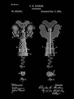 Table Wine Digital Art - Corkscrew Patent 1886 - Black by Stephen Younts