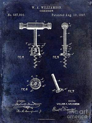 Corkscrew Patent 1897 Blue Art Print by Jon Neidert
