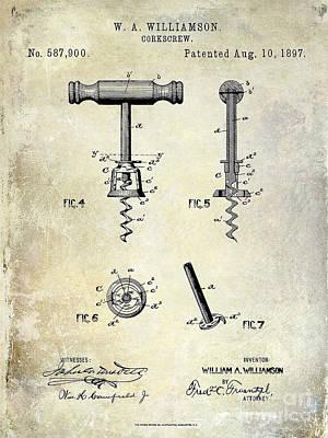 Merlot Photograph - Corkscrew Patent 1897 by Jon Neidert