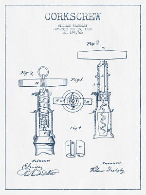 Corkscrew Patent Drawing From 1862 - Blue Ink Art Print
