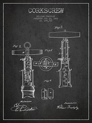Antique Corkscrew Digital Art - Corkscrew Patent Drawing From 1862 - Dark by Aged Pixel