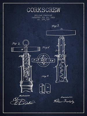 Wine Bottles Digital Art - Corkscrew Patent Drawing From 1862 - Navy Blue by Aged Pixel